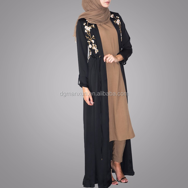 Pakistani Burqa Designs Latest Fashion Cardigan Embroidered Open Abaya Black Muslim Long Clothes For Ladies