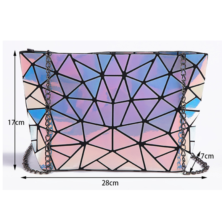 Osgoodway2 Geometric Women Sling Bag Ladies Laser Holographic pu Chain Crossbody Bag