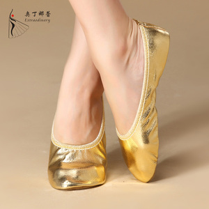 Wholesale Professional Foldable flat Girls Gold Silver Practice Belly ballet Dance Shoes