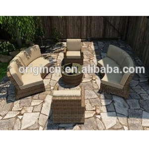 Factory direct wholesale semi circle designed patio curved rattan furniture outdoor half round sofas