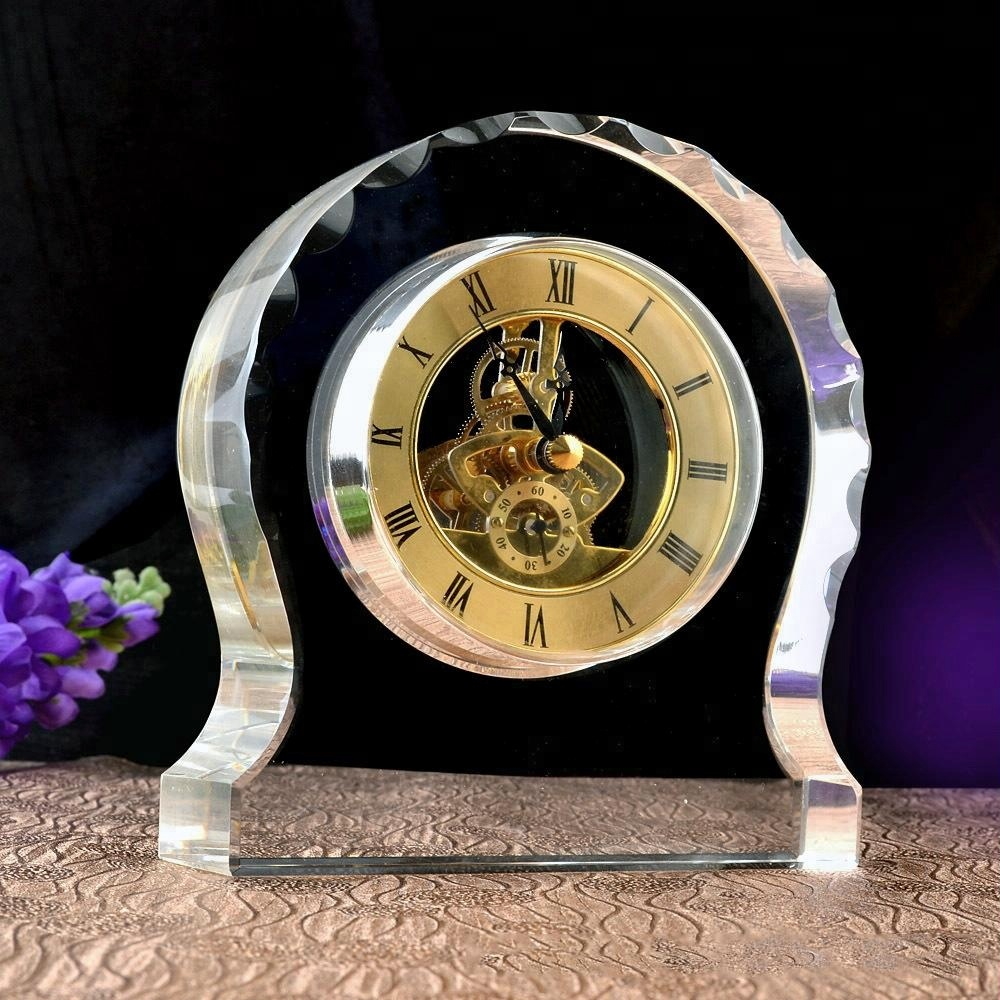Newest Design cheap K9 Crystal Table desk Clock for Business Gifts