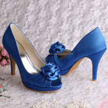 Royal Blue Wedding Shoes with Rose Flower