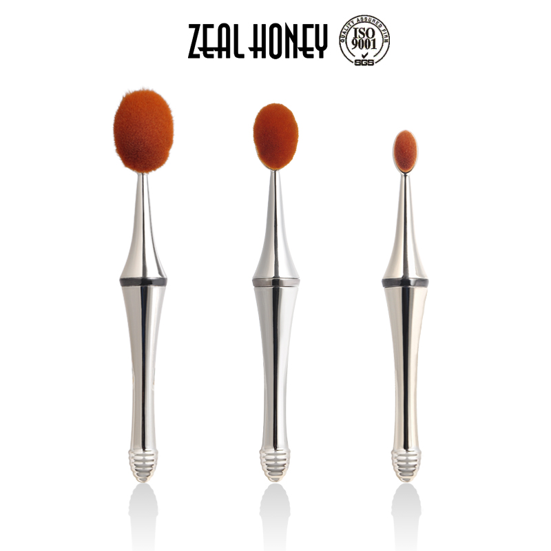 2017 New Zeal Honey New Arrival Gold Color Oval Cream Power Professional Makeup Brush Removable Makeup Brush 2 In 1 Oval Brushes