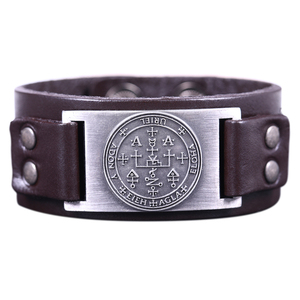 The Sigil of the Archangel URIEL Fire of God Talisman for Purity Love Sheet Metal Amulet Genuine Leather Men Bracelet Bangle
