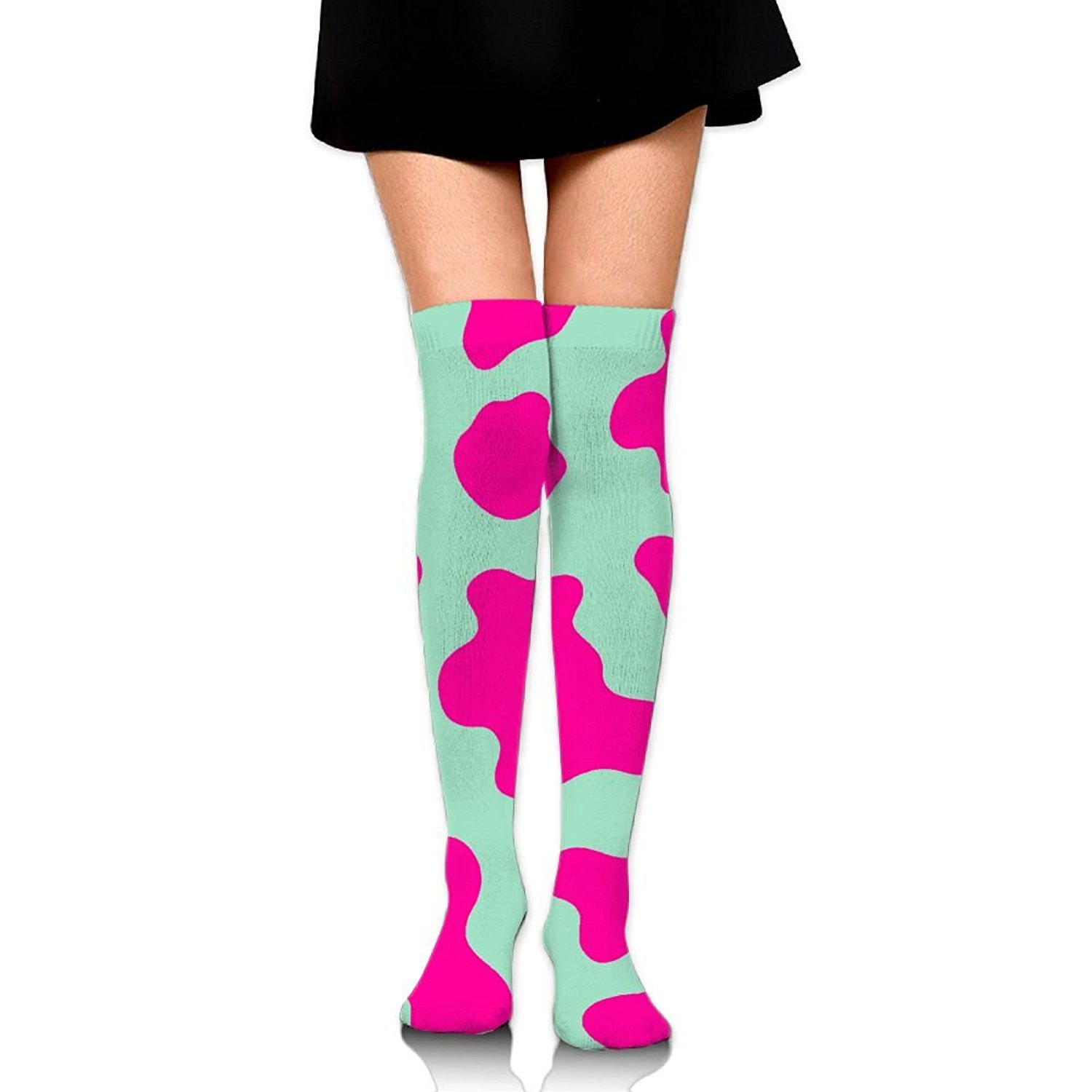 4a4a9bec3 Get Quotations · Lcswe Cow Pattern Womens Polyester Over The Knee Socks  Athletic Knee Highfashionsocks Personalizedthigh High Wamers Socks