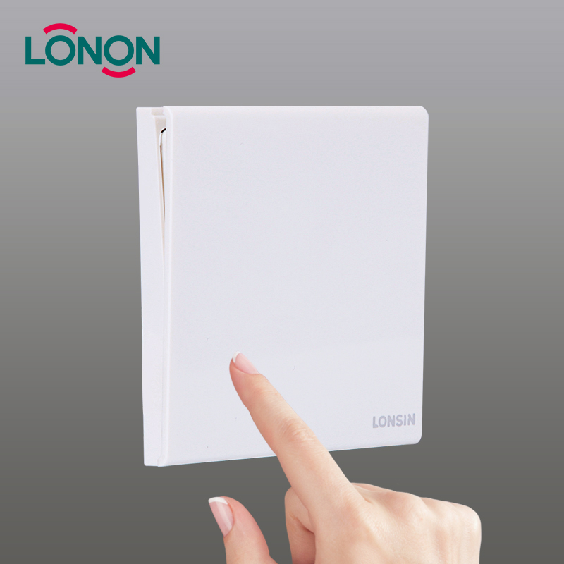 Lonon PC Metal Material White One Gang One Way Wall Mounted British Light <strong>Switch</strong>