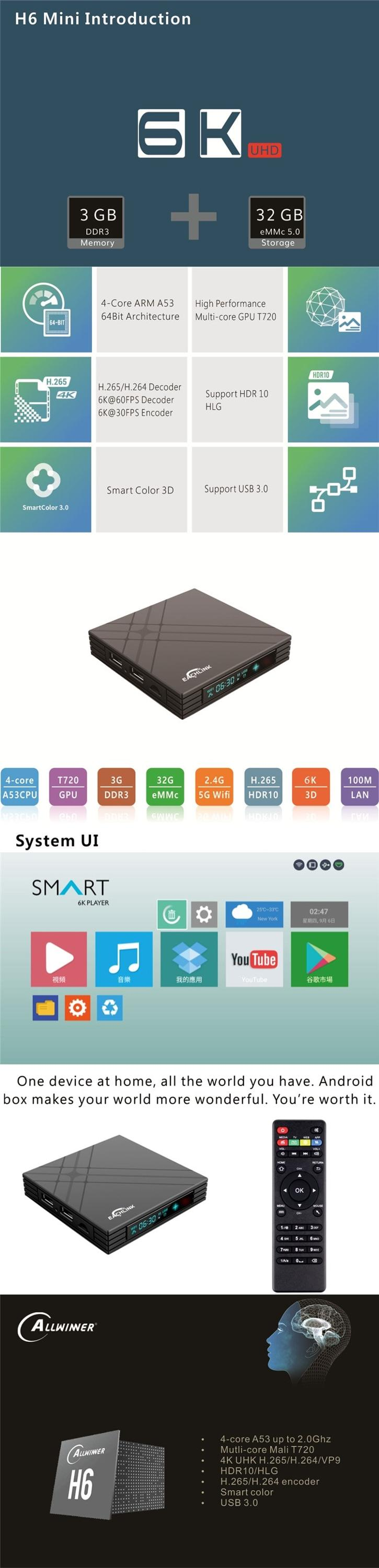 Support 4K HD Allwinner H6 mini android 7.1 TV BOX 3gb 32gb H6MINI quad core 4k set top box with the cheapest price