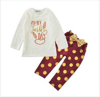 1b2bf566755 Trendy kids clothing baby girls my 1st turkey day long sleeve t-shirts+big