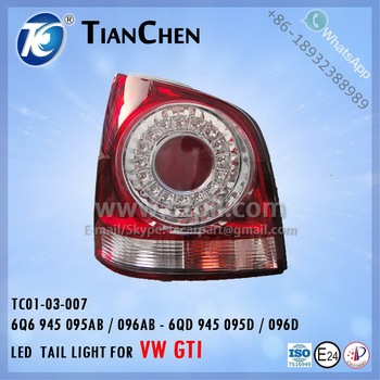 TAIL LIGHT for VW POLO GTI 2005 - 2009 carpart EU: 6Q6 945 095AB / 096AB ,CN: 6QD 945 095D / 096D WHITE/RED LED 6Q6 945 095AB /