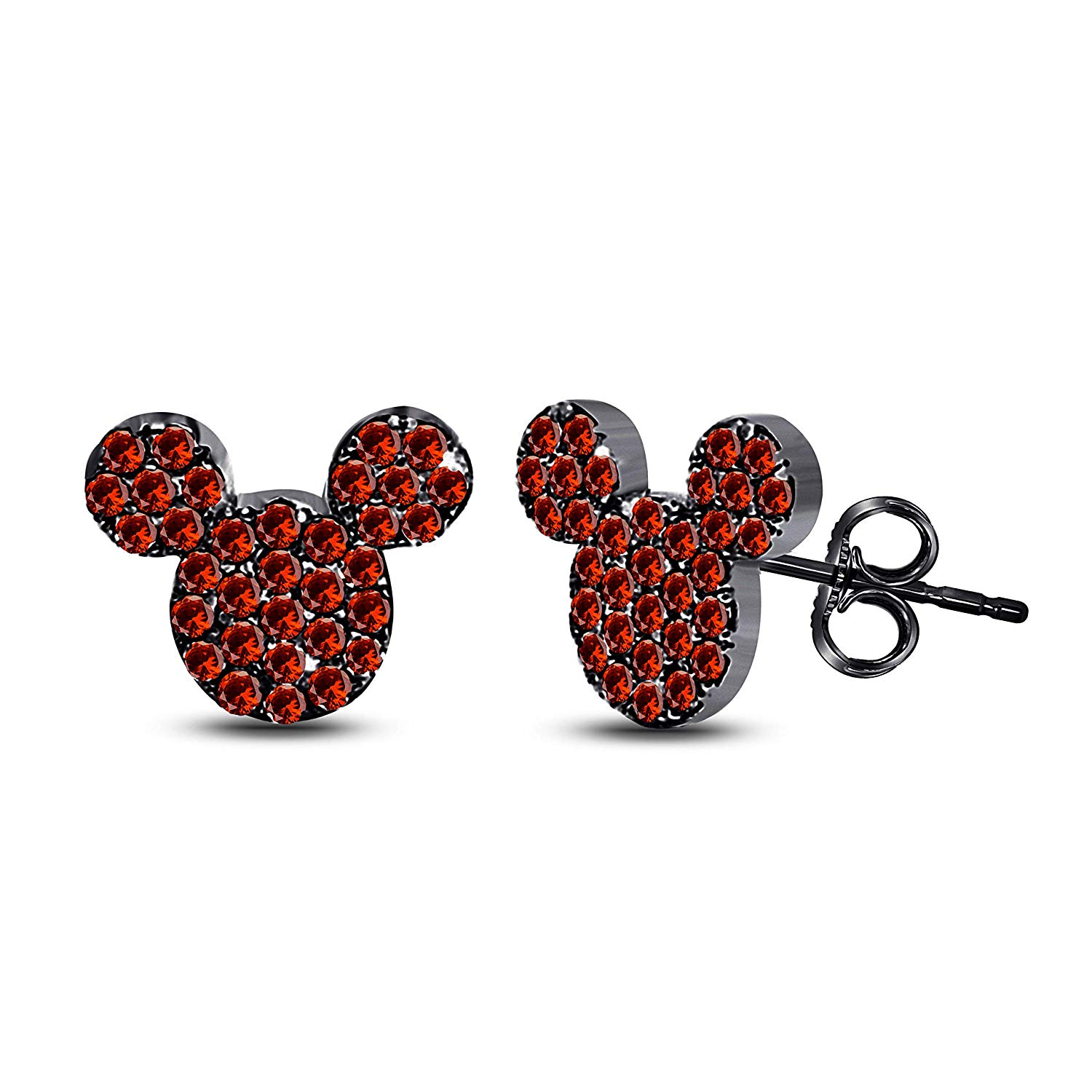 9039dbc3a Get Quotations · Tiny Cute Micky Mouse 925 Sterling Silver 14k Black Gold  Plated Stud Earrings with Fashion Red
