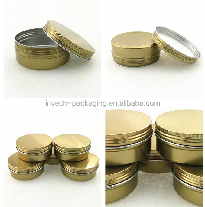 50g metal screw canister 50ml gold aluminum tin can 2oz aluminum tin box