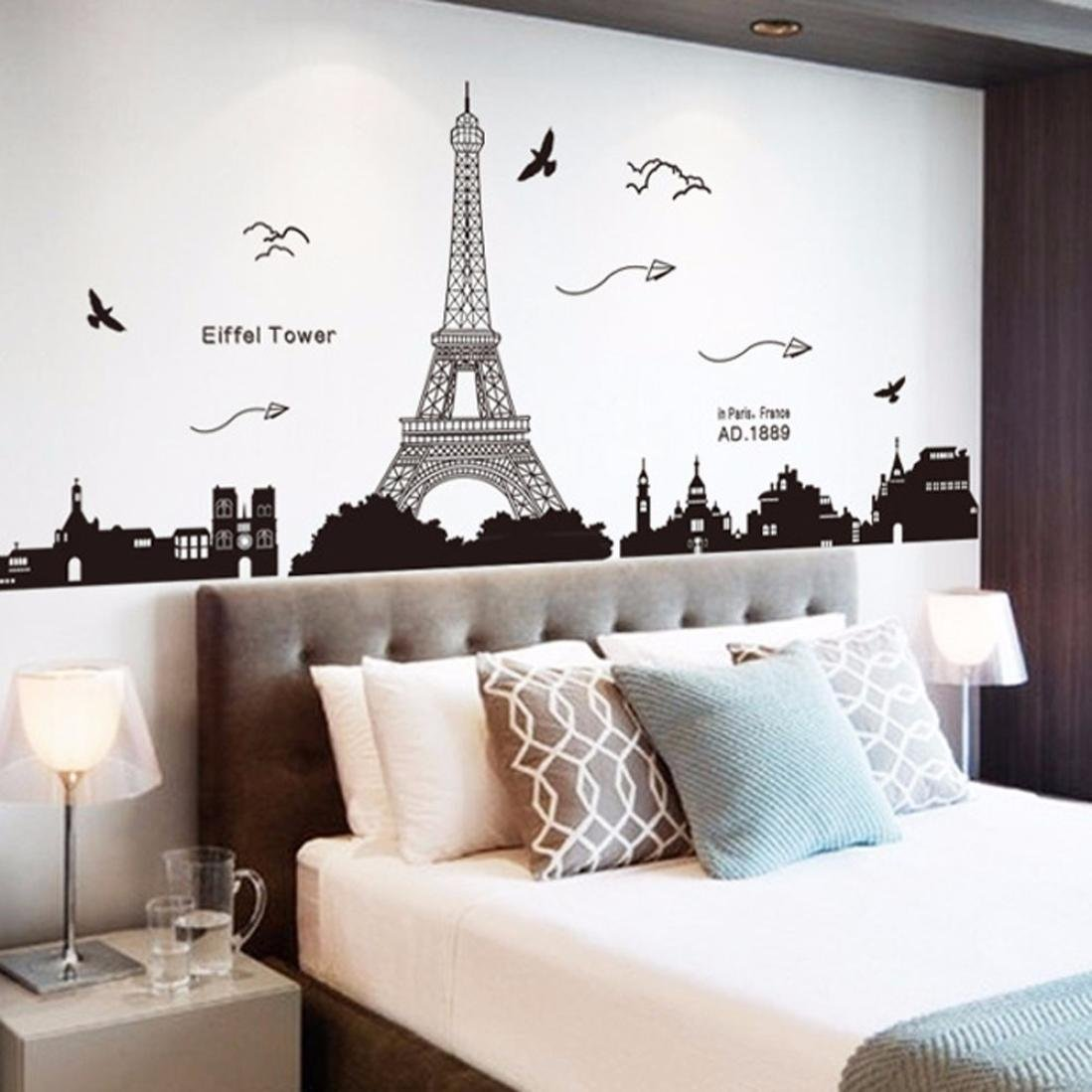 Iuhan® Fashion Paris Eiffel Tower Removable Decor Environmentally Mural Wall Stickers Decal