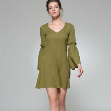 2017 women sexy V-neck above knee length long sleeve flared dresses lady