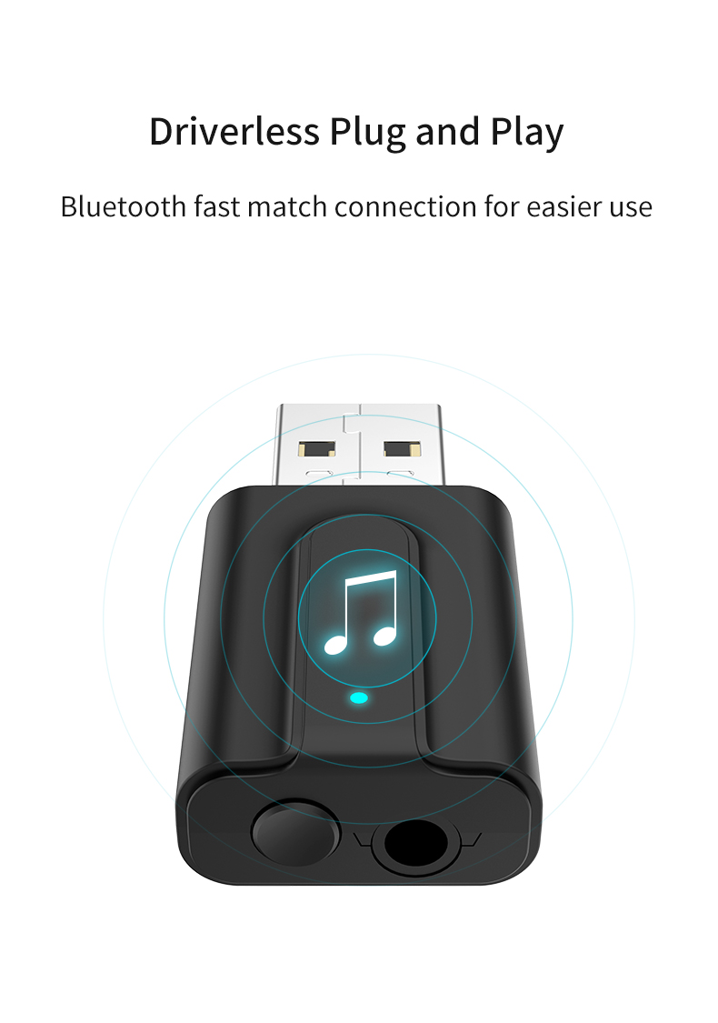 T10 USB Bluetooth Transmitter Receiver Mini 2 in 1 USB Bluetooth 5.0 Transmitter Receiver
