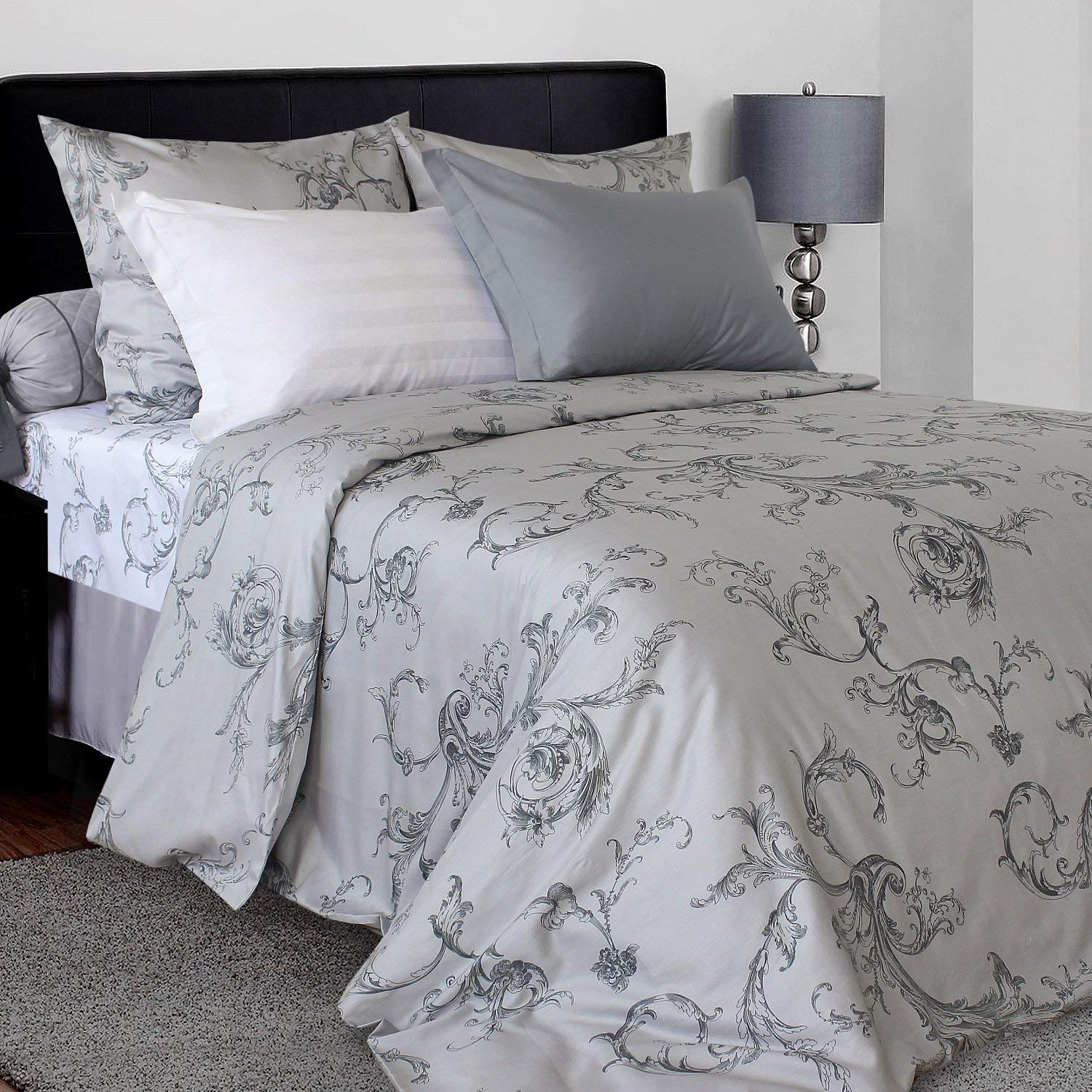 LikeaHome 4-pc Floral Bed Set: 100% Cotton Sateen Duvet Cover, Fitted Sheet & Pillowcases - Duvet Button Closure and Ties, Soft & Silky Uvisni Bedding Collection Made in Europe (King Size, Grey)