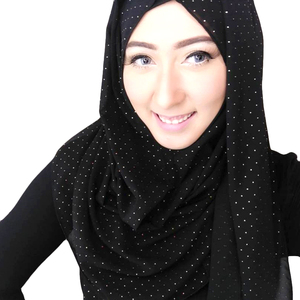 High Quality Women Islam Chiffon Hijab Malaysia Thick Muslim Georgette Scarf Solid Plain Bubble bulk chiffon dot scarves