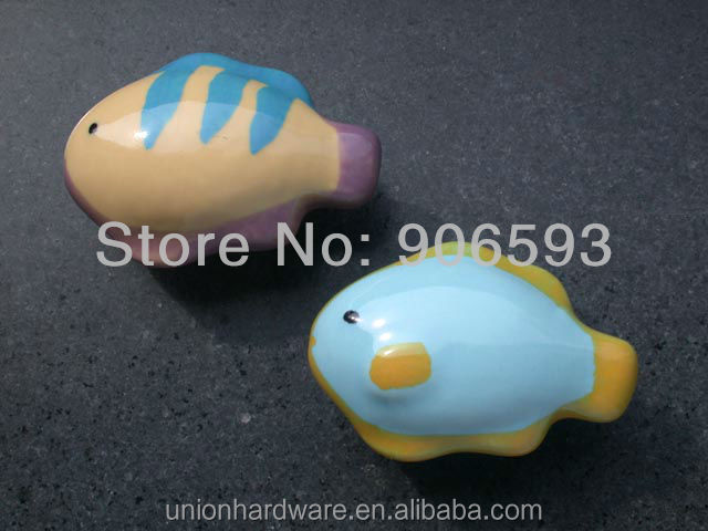 Decorative Porcelain sweet fish shape cabinet knob,ceramic kitchen knob