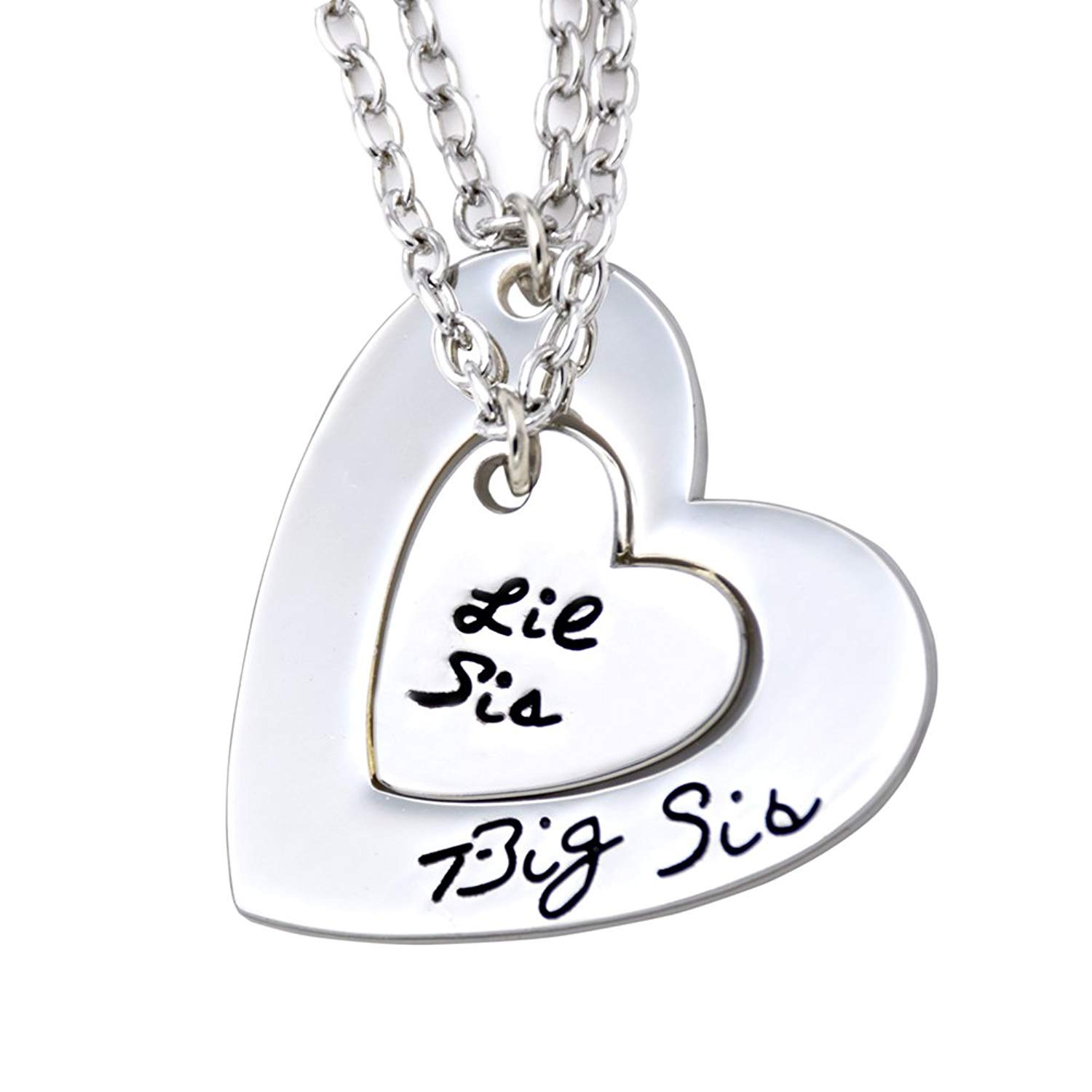 7cf3309c66 Get Quotations · O.RIYA Big Sis Lil Sis Necklaces Set for 2 ,2pcs/set Silver