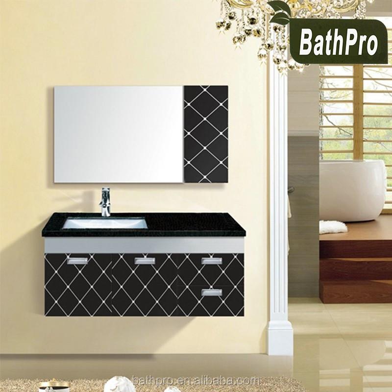 Nero parete mobile con specchio mobiletto del bagno moderno per bagno-Armadietto-Id prodotto ...