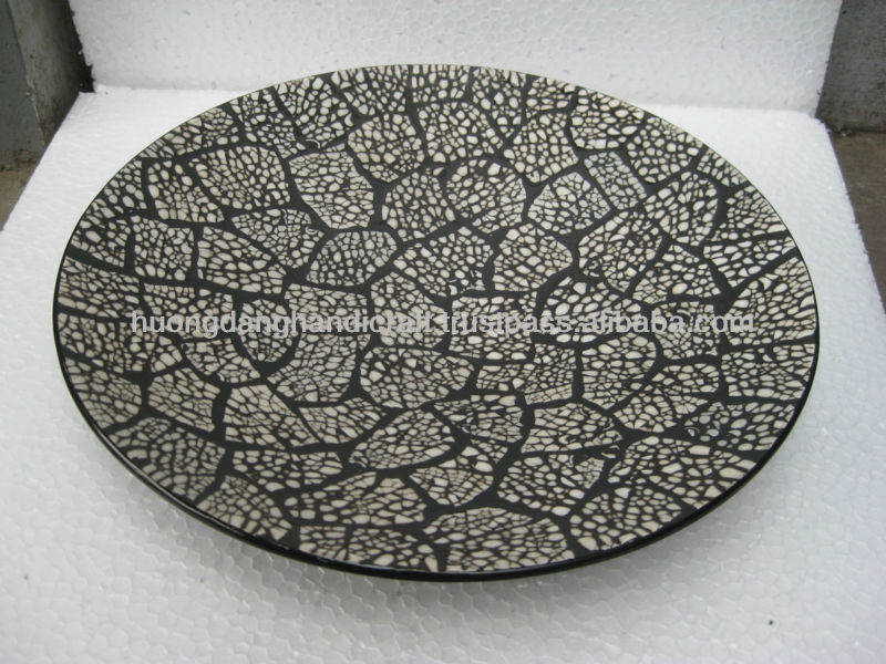 Fantastic cracked eggshell inlay lacquer dish plate