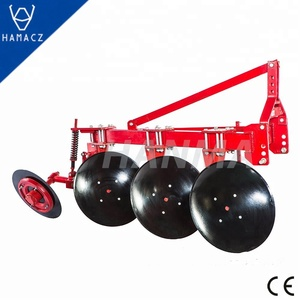 Farm tractor disc plow for breaking soil use