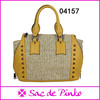 new design woman leather & straw handbag guangzhou bag