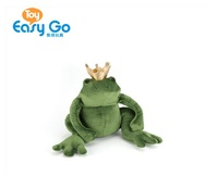 Wholesale Stuffed Plush Green Prince Frog Toy with Golden Crown