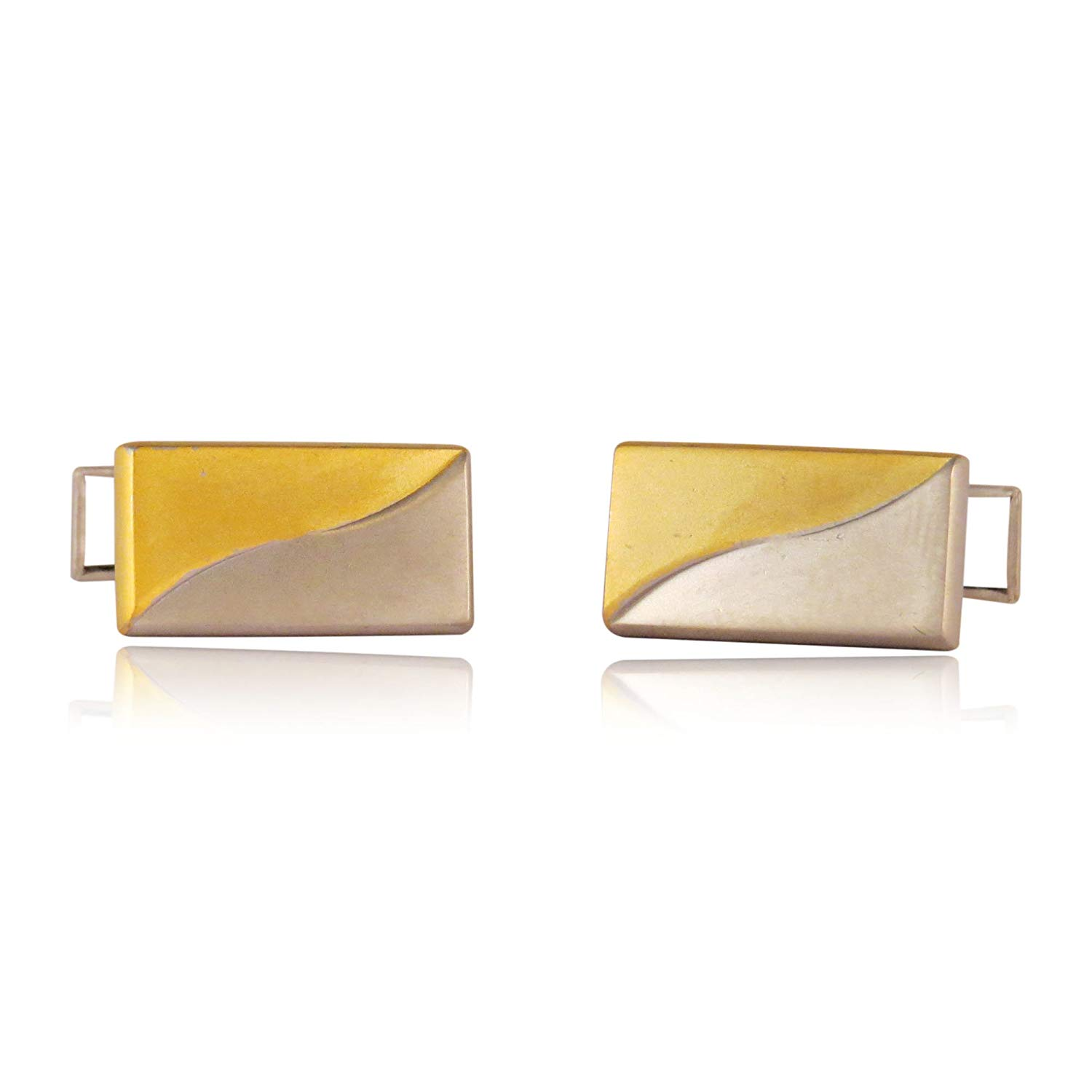 Cuff-Daddy Versatile Gold & Silver Two-Tone Cufflinks with Matte Finish with Presentation Box