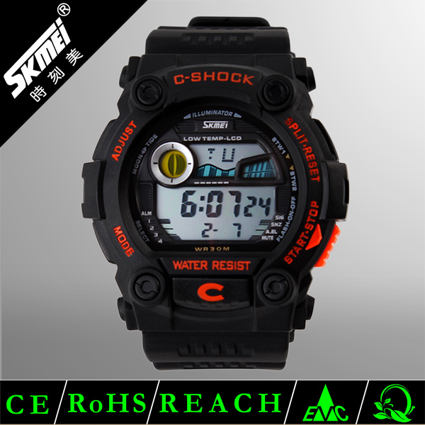 Skmei 2014 new arrival king quartz chronograph watch plastic sport watches
