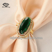 Wholesale suppliers brilliant gold plated sterling silver imitation emerald rings