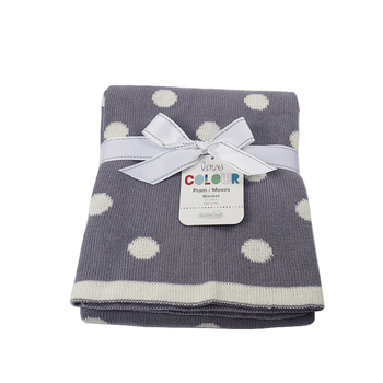 Comfortable Gray polka dot children's blanket,wholesale baby cotton knitted blanket plaid