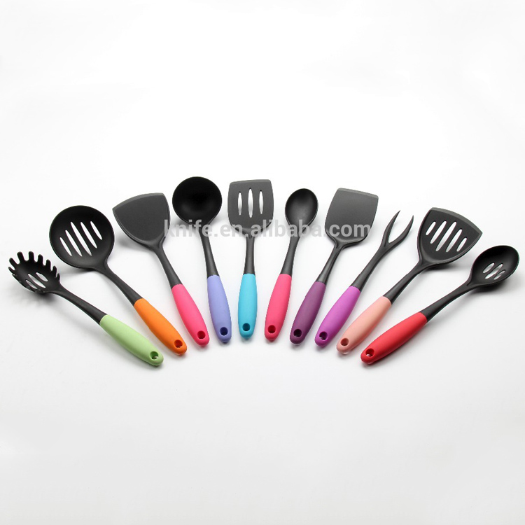 Manufacturer supply new design high quality colorful 10pcs Nylon kitchen tools