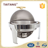 Kitchen accessories stainless steel round chafing dish with glass food warmer