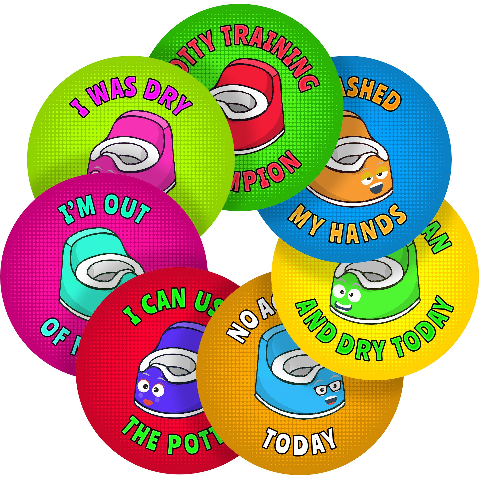 "Potty Toilet Training Reward Sticker Labels, 70 Stickers @ 1"" inch, Glossy Photo Quality, Ideal for Children Parents Teachers Schools Doctors Nurses Opticians"