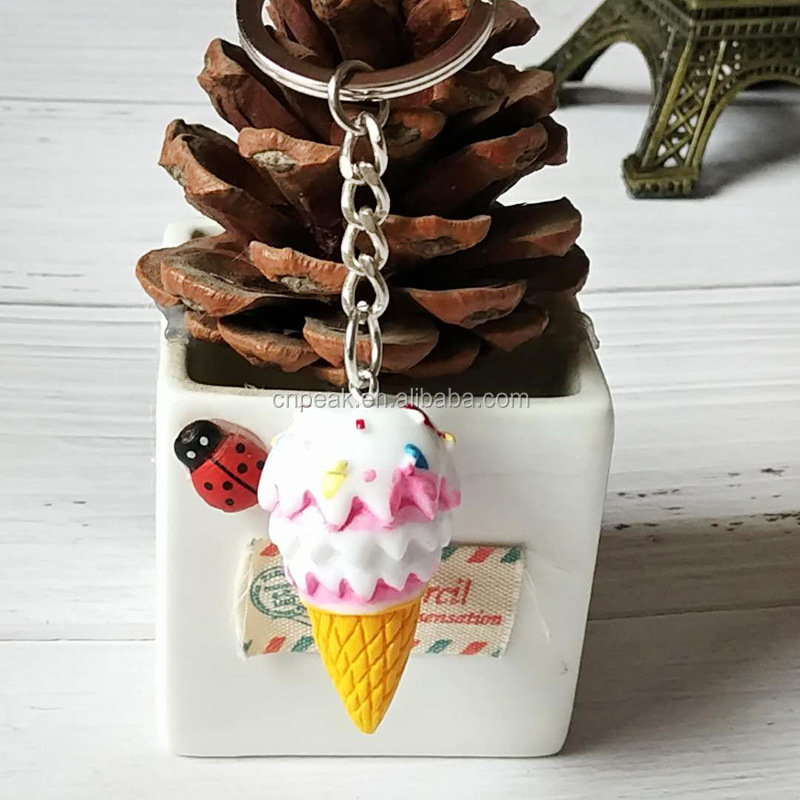 Newest cute imitation ice cream resin material key chain