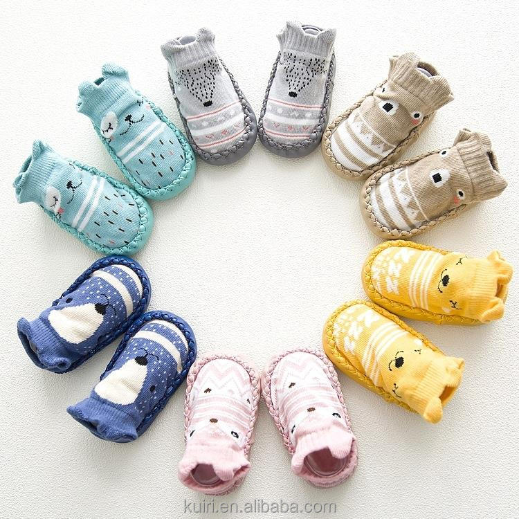 2018 Baby anti slip cartoon fox bear baby sock infant baby cute shoes animal boots boy girl warm socks etw-144