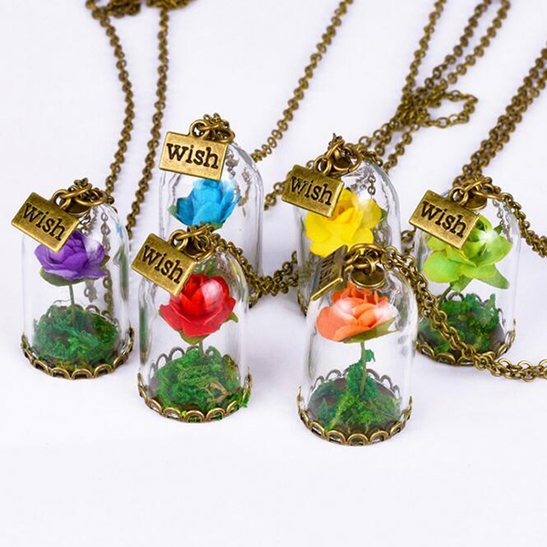 Beauty and The Beast Enchanted Rose Flower in Bottle and Mirror Pendant Necklace
