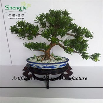 Sjzjn 531 Small Green Plant/ Mini Fake Bonsai Podocarpus Tree ...