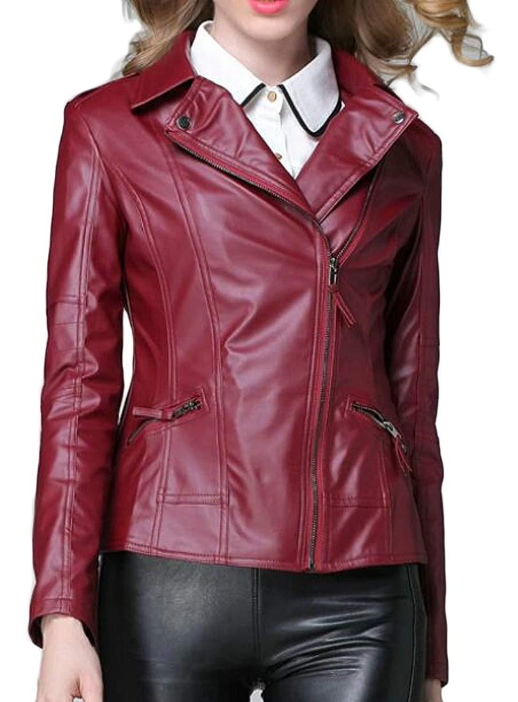 KLJR-Women Faux Leather Zipper Moto Biker Jacket Short PU Leather Coat Outwear