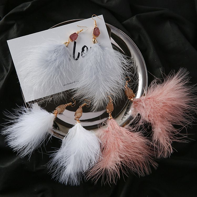 Wholesale Beautiful Women's Pink Color Korean Earrings Latest Handmade Long Boho Feather Earrings