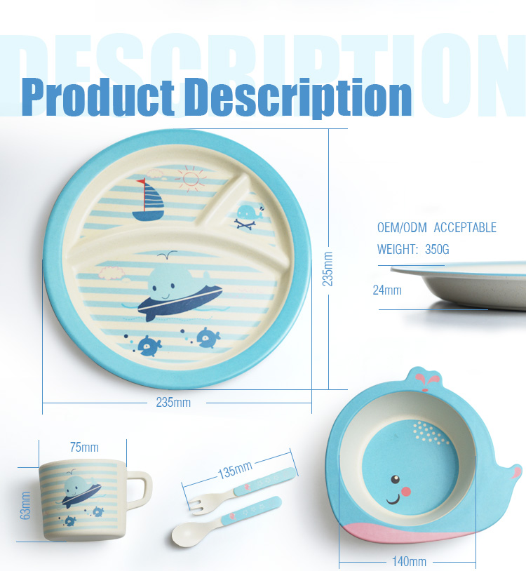 Baby Product Bamboo Fiber Dinnerware Dinner Set For Kids