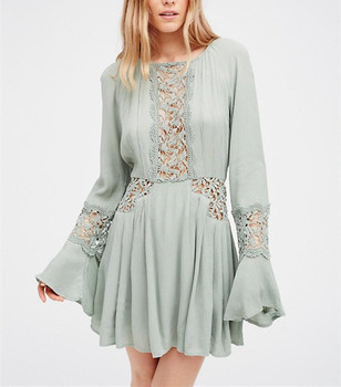 0773382348 Bohemian Clothing Ladies Crochet Bell Sleeve Dress For Women Hsd2537 ...