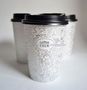 Customized hot paper coffee cups with black lid