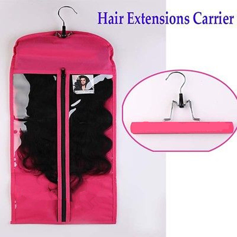 Hot Sale eco pvc soft plastic hanger hook bags for wig packaging