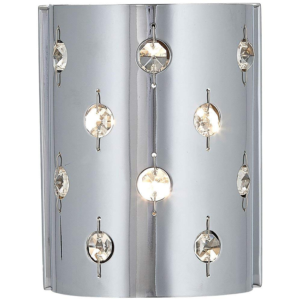 Polished Chrome Glass Beaded Single Light Fixture Sconce | Bathroom Hall or Vanity LED Wall Lighting
