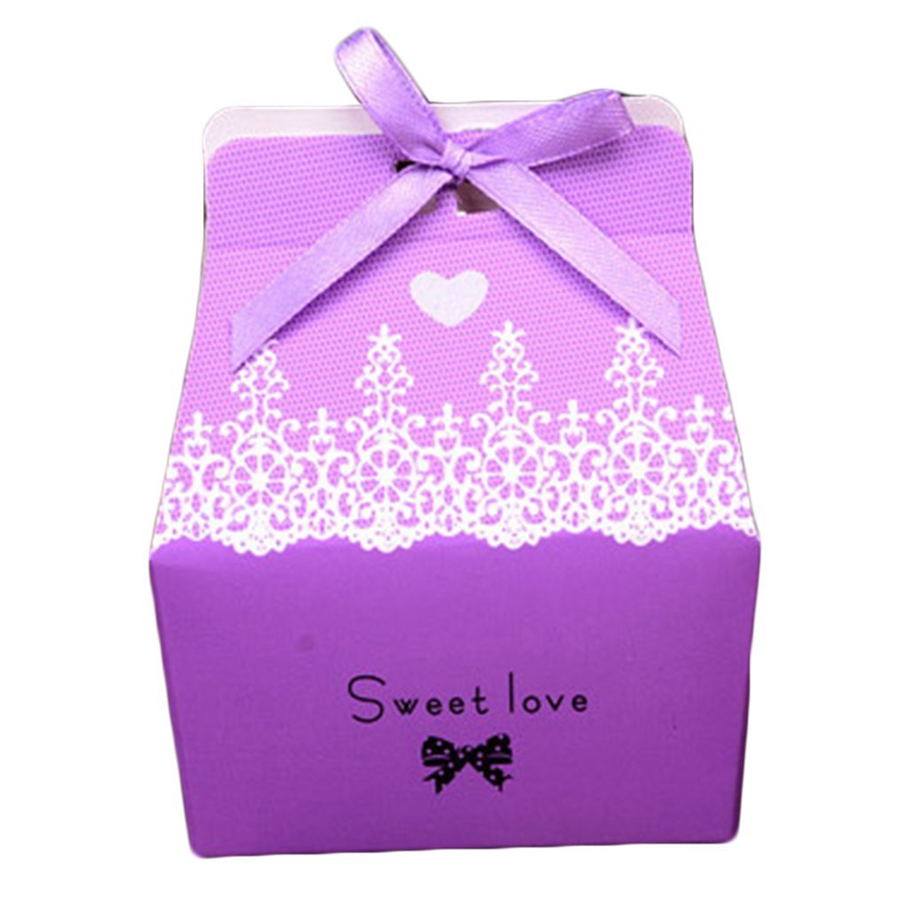 Buy 50pcs wedding decoration candy box with ribbon holiday supplies ...