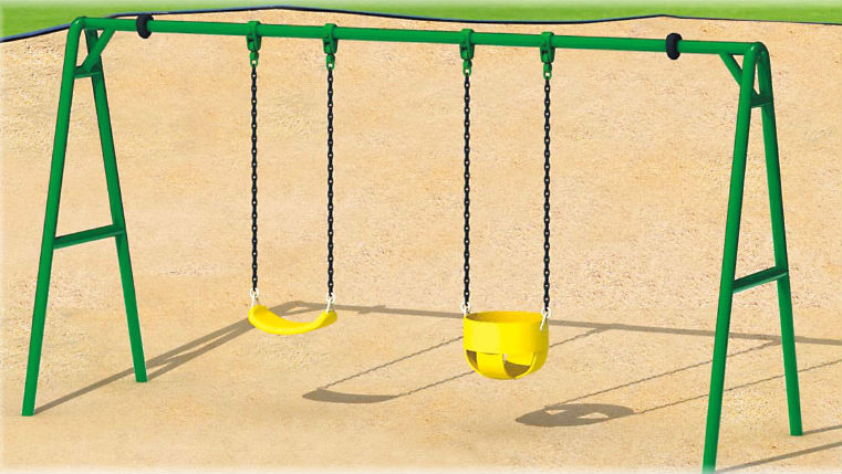 Garden Swing Set Used Outdoor Galvanized Metal Swing Sets For Kids And Baby  (QX