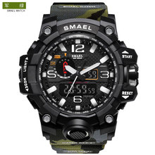 Fabriek Groothandel SMAEL 1545B 5atm Waterbestendig <span class=keywords><strong>Camouflage</strong></span> Kleur Populaire LED Elektronische Militaire Mannen Digitale <span class=keywords><strong>Horloge</strong></span>