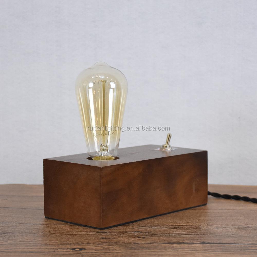 Retro Natural Wooden Block Bedroom Table Lamp Buy Wood Block