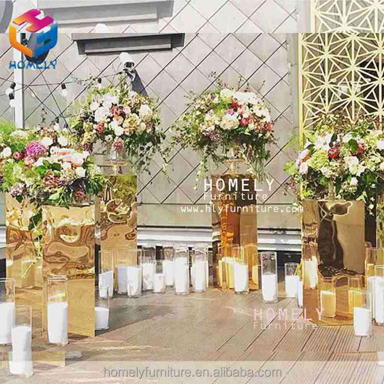 Antique Metal Wedding hotel dinning event banqurt decoration metal Stainless Steel glass wedding flower wall backdrop stand
